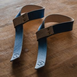 GORILA STD LEATHER LIFTING STRAPS - PAIR - Blue