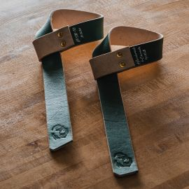 GORILA STD LEATHER LIFTING STRAPS - PAIR - Green