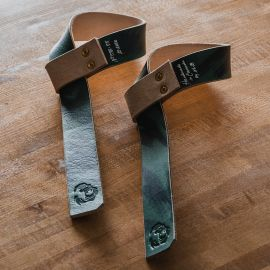 GORILA STD LEATHER LIFTING STRAPS - PAIR - Green Streaked