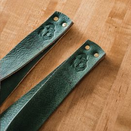 GORILA OLY LEATHER LIFTING STRAPS - GREEN - PAIR