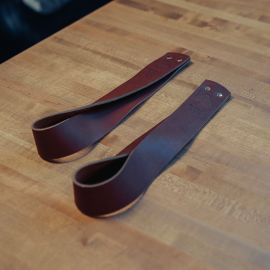 GORILA OLY LEATHER LIFTING STRAPS - BROWN - PAIR