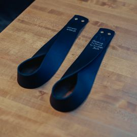 GORILA OLY LEATHER LIFTING STRAPS - BLACK - PAIR